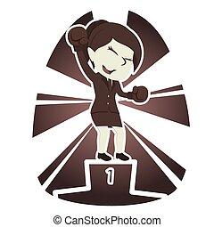 Retro style businesswoman boxer champion