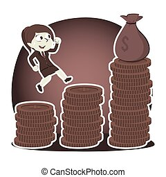 Retro style businesswoman climbing coins stair to get sack of money