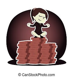Retro style businesswoman meditating on the top of coins peak