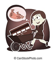 Retro style businesswoman with credit card in wheelbarrow