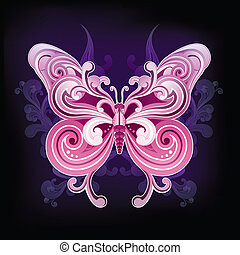 Retro Style Butterfly isolated on Black Background. Vector.