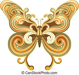 Butterfly - Retro Style Butterfly isolated on White ...