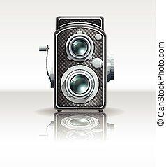 Retro style camera on white