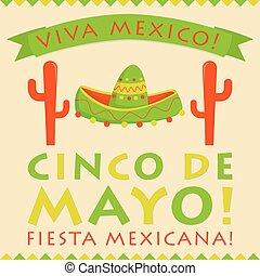 Retro style Cinco De Mayo (5th of May) card in vector...