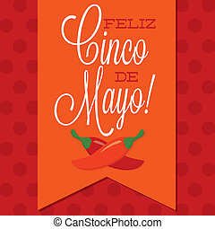 Retro style Cinco de Mayo (Happy 5th of May) card in vector...