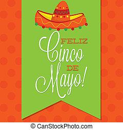 Retro style Cinco de Mayo (Happy 5th of May) card in vector...