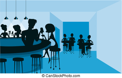 Retro style club scene with bartender silhouettes and...