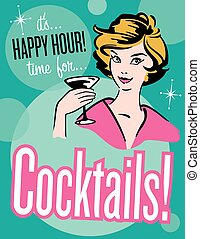 Vector illustration of vintage, retro style Happy Hour Cocktail poster or invitation