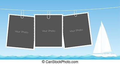 Retro style collage of photo frames vector illustration