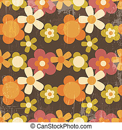 Retro Style Colorful Flower Seamless Pattern