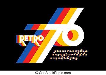 Retro style colorful font