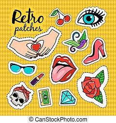 Retro style colorful stickers
