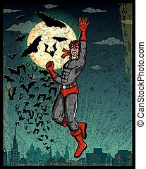 Retro style comics Superhero showing is power strength in...