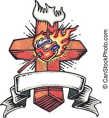 Retro style Cross - Hand drawn vector illustration of a...