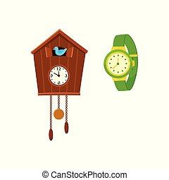 Retro style cuckoo clock and modern wrist watch -...
