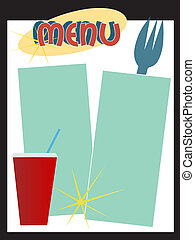 A retro style diner menu featuring a soda cup