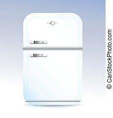 Retro style domestic fridge vector illustration