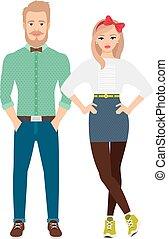 Retro style dressed fashion couple on white background....