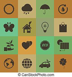 Retro style Eco icons vector set.