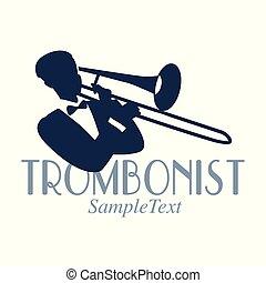 Retro style emblem of trombonist silhouette. Jazz symbol