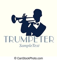 Retro style emblem of trumpeter silhouette. Jazz symbol
