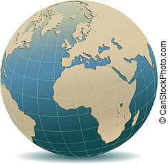 Retro Style Europe and Africa, Global World - Vector Map ...