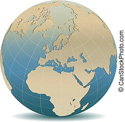 Retro Style Europe Global World - Vector Map Icon of the ...
