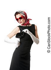 Fashionable retro style mature woman isolate don white