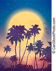 Retro style full moon rise with palm silhouettes poster background