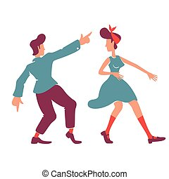 Retro style girlfriend and boyfriend flat color vector faceless characters. Couple dancing boogie woogie, rock n roll. Old fashioned romantic date at disco party isolated cartoon illustration