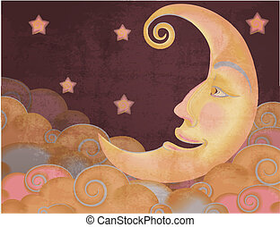 Retro style half moon, clouds and stars illustration