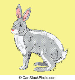 Retro style, hand drawn rabbit with polka dots on orange background