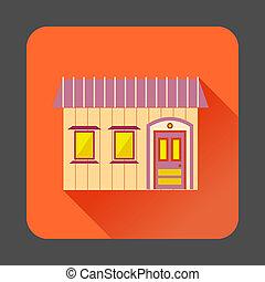 Retro style home icon, flat style