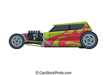 Retro Style Hot Rod Race Car, Old Sports Green and Red Vehicle Vector Illustration on White Background