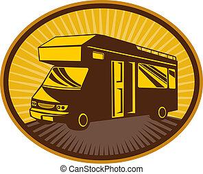 Camper van,caravan or mobile home - retro style illustration...
