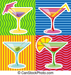 martini - Retro style illustration of martinis on abstract...