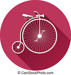retro-style illustration of old vintage bicycle flat design