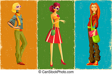 Retro Style Lady - illustration of lady in retro style get...