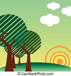 Retro style landscape sunset - Retro style landscape with...