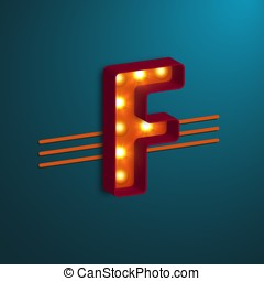 Retro style letter F.