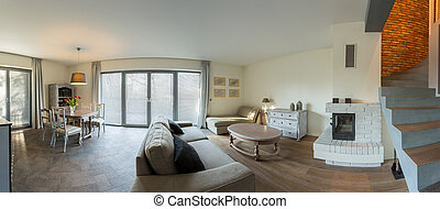 Retro style living room - Panorama of elegant retro style...