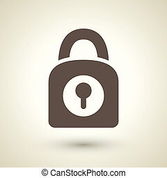 retro style lock icon isolated on brown background