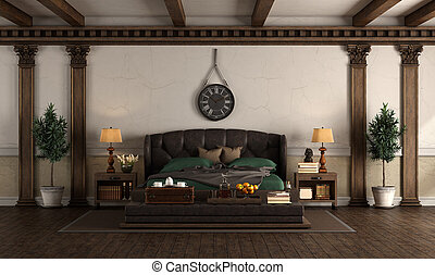 Retro style master bedroom with leather double bed, wooden columns and roof beams - 3d rendering