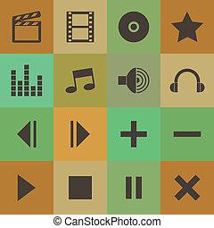 Retro style media player icons vector set.