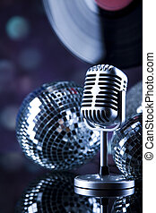Retro style microphone, Music background, music saturated concept