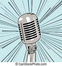 Retro style microphone pop art vector