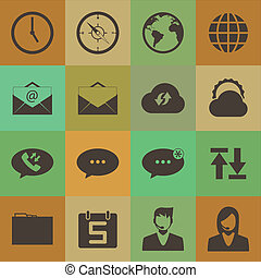 retro style mobile phone icons network vector set.