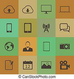 Retro style mobile phone icons vector set.