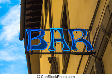 Retro style neon sign of a bar