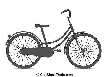 retro style, noir, vélo, isolé, blanc, fond